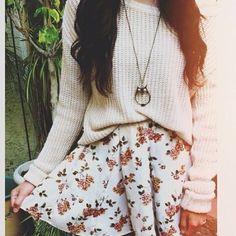 Love this look for fall. Baggy sweater, floral skater skirt.