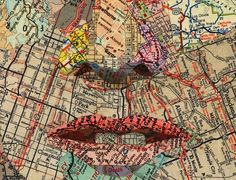 Collage artist Matthew Cusick creates new compositions from ephemeral images, using maps as the raw material in his compelling portraits and landscapes. Originally from New York, the Dallas-based artist is inspired by the topographical and the… Art Du Collage, Collage Making, Art Collages, Collage Portrait, Photo Collages, Collage Ideas, Art Ideas, Art Carte, We Are The World