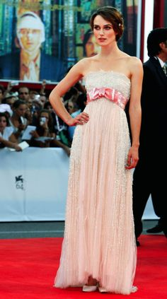 Keira Knightley looks ethereal in a pink bow-adorned Chanel dress at the premiere of 'Atonement' at the 2007 Venice Film Festival