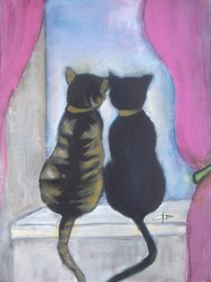 Cats painting  Original acrylic painting  Cat by VESNAsART on Etsy