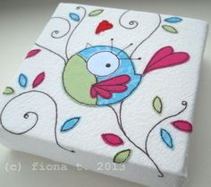 embroidered bird canvas £22.50