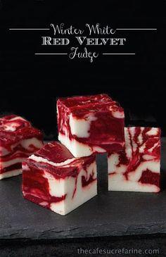 Winter White Red Velvet Fudge - The Café Sucre Farine    15 Festive Christmas Fudge Recipes!