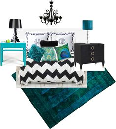 """Black white and turquoise bedroom"" by hope2911 on Polyvore"