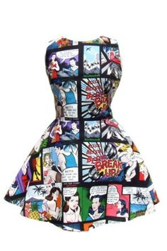 Hemet Comic Strip Skater Dress Black $75.95  Amazing Retro Inspired Comic Strip Skater Dress! This dress has a fitted bodice and flares out at the natural waist. This dress comes has such a cute print. Composed of a retro inspired comic strip over a white background. The images are fun and detailed.
