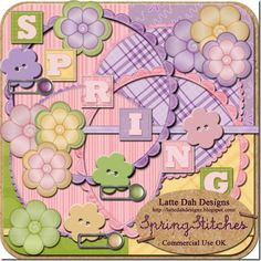 Spring Stitches Digital Scrapbooking Kit - $1.25   Create multiple layouts and pages with these beautiful Spring colored elements and papers.     33 Total Elements and Papers.   4 Buttons, 3 Prongs, 8 Flowers, 2 Round Frames, 6 Block Letters(SPRING),2 Round Papers, 4 Papers, 4 Ribbons