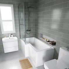 L Shaped Baths Ideas Left Hand L-Shaped Bath - Screen, Rail & Front Panel (Excludes End Panel) Upstairs Bathrooms, Ensuite Bathrooms, Bathroom Toilets, Grey Bathrooms, Master Bathroom, Bathroom Suites Uk, Bathroom Sink Storage, Grey Bathroom Tiles, Shower Tiles