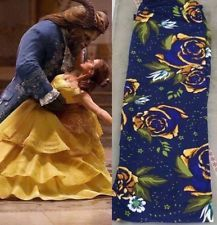 Lularoe TC Beauty And The Beast Floral Leggings Yellow Gold Roses Navy Blue HTF