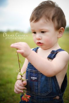 Cheree Carnes Photography little boy overalls outdoors flower one year 1st first birthday session country