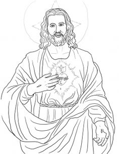 Sacred Heart Catholic Coloring Page