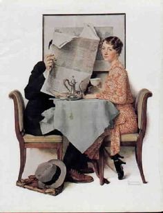 """1977 VINTAGE /""""AT THE BREAKFAST TABLE/"""" NORMAN ROCKWELL MINI POSTER COLOR Litho"""