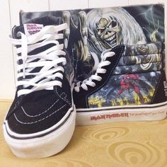⚡️ISO⚡️Iron Maiden Vans Number the Beast skate hi I have literally every other pair of Iron Maiden Vans Skate Hi's but these!!!!! I need them I wear I size 7/7.5/8 women's which works to being a 5.5/6 men's. Please let me know if you have these or if you know where I can find them! Thanks ✨ tags: metal band sk8 his high top tennis shoes number of the beast killers powerslave music 666 Vans Shoes