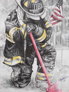 """Mixed media - """"Remembrance of x pen & ink with watercolor highlight. Firefighter Paramedic, Firefighter Quotes, Firefighter Clipart, Firefighter Tattoos, Doodle Art Drawing, Art Drawings, Fireman Tattoo, Fireman Quilt, Drawing Projects"""