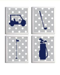 BOys nursery vintage golf | Golf Sports Nursery Boy Girl Grey Navy Preppy Polka Dot more colors ...
