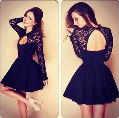 Long Sleeve Lace Short Prom Dress Tulle Party Dress For Homecoming