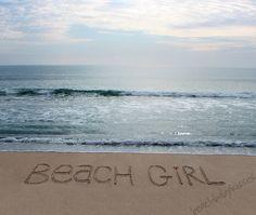 BEACH GIRL Sand Writing on the Beach.