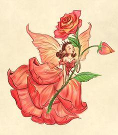 Casey Robin Inspired Rose Fairy by Superkeen Fairy Drawings, Art Drawings Sketches, Cute Drawings, Pretty Art, Cute Art, Character Art, Character Design, Arte Sketchbook, Fairytale Art