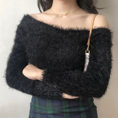 Sexy slanted mohair long sleeve sweater · FE CLOTHING · Online Store Powered by Storenvy Asian Fashion, Girl Fashion, Fashion Looks, Fashion Design, Winter Tops, Online Clothing Stores, Long Sleeve Sweater, Street Wear, My Style