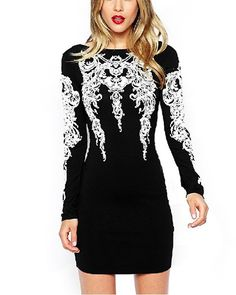 Black Long Sleeve Slim Bodycon Dress | Brown belt, Manche and Sleeve