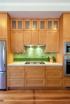 Maple cabinets with Brookhaven's lodge stain to look like alder