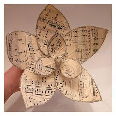 *Rook No. 17: DIY: How to Make Paper MAGNOLIAS from Vintage Sheet Music and glitter