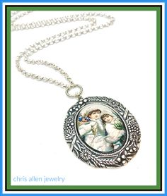 Glass Vintage Holiday Cameo set in an ornate Silver setting with Silver Chain. Aqua Glass, Beautiful Lines, Gold Hands, Victorian Christmas, Vintage Holiday, Blue Flowers, Custom Jewelry, Necklace Lengths, Jewelery