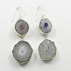 Dangling Design Druzy Gemstone Bezel 925 Silver Hook Ladies Earring Pair Jewelry #Handmade #DropDangle