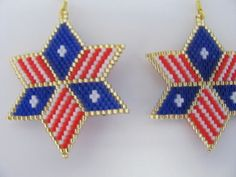 Hand Beaded Red White and Blue Flag design 6 pointed by beadfairy1, $14.95