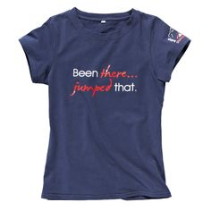 """A fun and stylish skinny fit T-shirt ideal for when out riding, at a show or shopping! Made from 95% cotton and 5% spandex, these fitted T-shirts are flattering and comfortable. 'Been there jumped that"""" The T-shirts also feature the British Showjumping logo on the sleeve and """"British Showjumping on the back."""