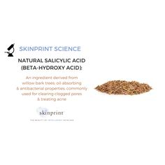Salicylic Acid might sound like a chemical, but it's actually derived from willow bark trees. That makes it a perfect ingredient for our new CONDITIONING & BRIGHTENING BAR SOAP, part of Skinprint's all-natural eco-ceuticals line. The line will be available in a few short weeks. Sign up for our newsletter on our website to get the scoop on the official launch. #SalicylicAcid #skinprintscience #skinprint #ecoceuticals #intelligentskincare #EcoCert #ProteomicScience
