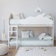 Dealing with space issues can be upsetting, especially about designing your kid's room. So here, a list of small children's room ideas to help you out. Baby Bedroom, Baby Room Decor, Girls Bedroom, Bedroom Ideas, Kid Beds, Bunk Beds, Cama Ikea Kura, Kids Room Design, Kids Furniture