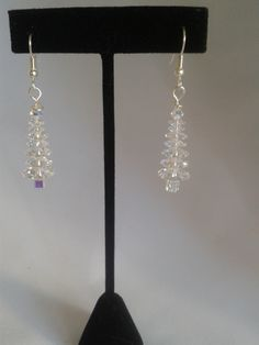 Genuine Swarovski crystal Christmas tree earrings - 6 tier clear
