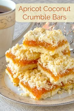 Apricot Coconut Crumble Bars - a scrumptious flavour combination! A twist on a lemon version of the same cookie bars but could easily be made with any jam filling you prefer. Rock Recipes, Sweet Recipes, Bar Recipes, Lunch Recipes, Recipies, Just Desserts, Delicious Desserts, Gourmet Desserts, Plated Desserts