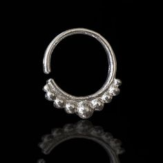 Septum Ring - Septum Jewelry - Septum Piercing - Septum Cuff - Indian Nose Ring - Indian Septum Ring - For Pierced Nose   This antique Indian style septum is made of silver and decorated with small silver balls.   For pierced nose. Can be worn on the ear as well.  $15