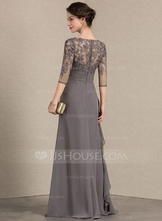 A-Line/Princess V-neck Floor-Length Chiffon Lace Mother of the Bride Dress With Cascading Ruffles - Mother of the Bride Dresses - JJsHouse Cheap Long Dresses, Dressy Dresses, Mother Of The Bride Dresses Long, Mothers Dresses, Lace Evening Dresses, Ball Dresses, Dinner Gowns, Royal Dresses, The Dress
