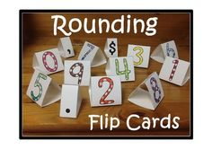 This package contains tri-fold rounding flip cards. The concept behind the cards: When rounding, students should do one of three things to each digit: leave it alone, increase it by one, or change it to a zero. The rounding flip cards give students these three choices on each card. The color change may benefit visual learners while the flipping may benefit kinesthetic learners. $
