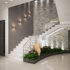 Add the mid-century decor touch to your home interior design project! Minimalist House Design, Minimalist Home, Modern House Design, Modern Interior Design, Interior Design Living Room, Home Stairs Design, Interior Stairs, Stair Design, Modern Staircase