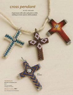 how to make a beaded cross Beaded Beads, Beaded Cross, Beads And Wire, Beaded Earrings, Beaded Jewelry, Seed Bead Patterns, Jewelry Patterns, Beading Patterns, Bead Crafts