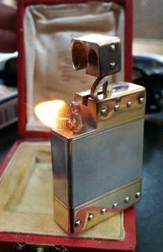 RARITY CARTIER PETROL GOLD 18K +SILVER 925 BRIQUET FEUERZEUG LIGHTER 打火機 1930-40