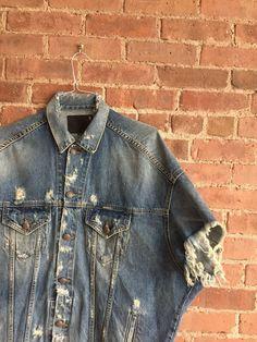 Oversized Men's Denim Jacket Sz Medium, Italy Cutoff Arms Ck Jeans, Love Jeans, Denim Jeans, Popular Mens Jeans, Jean Jackets, Denim Jackets, Denim Jacket Men, Oversized Jacket, Mens Essentials