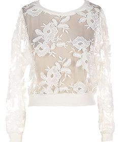 Ivory Garden Sweater: Features a gorgeous sheer foundation peppered with hand-embroidered lace flowers, long well-tailored sleeves, and a classic banded hem to finish.