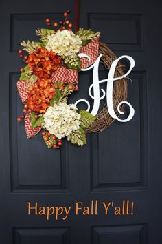 Limitted Quantity Fall Monogram Grapevine Wreath by WreathDreams Fall Crafts, Holiday Crafts, Diy Crafts, Holiday Decor, Diy Wreath, Grapevine Wreath, Tulle Wreath, Monogram Wreath, Wreath Ideas
