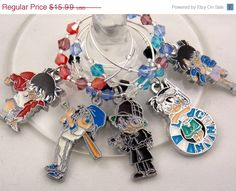 Detective Conan inspired wine glass charms set of 5 by TheWarpZoneStore, $13.59