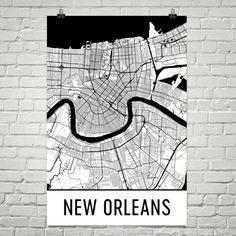 New Orleans Map, New Orleans Art, New Orleans Print, New Orleans Decor, New Orleans Louisiana, New Orleans Wall Art, New Orleans LA, Gift