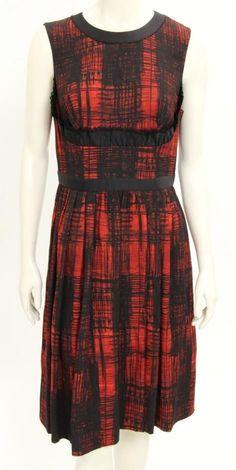Prada Dress (Pre-owned Black & Red Plaid Sleeveless Ruffle Trim Pleated Skirt Dress)