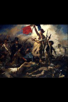 Dit beeld geeft de strijd in frankrijk weer, dit wordt duidelijk door de lijken op de grond en de franse vlag (1). Ook gaat ze letterlijk over lijken om haar doel te bereiken. Je ziet een clair-opscur kleurengebruik en een driehoekscompositie, waardoor de vrouw in het midden de belangrijkste persoon wordt (2).