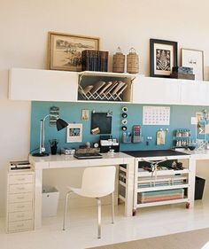 I love the supreme functionality of this home office space - so many different kinds of storage in such a small footprint.  I love the blue metal 'backsplash' for hanging, displaying, and storing a variety of items.  I also love the overhead cabinets which provide hidden storage as well as a shelf on which to store/display items - so functional! -- IKEA Home Offices in Every Style: Apartment Therapy.