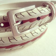 White stripe recycled bicycle tire belt by felvarrom on Etsy