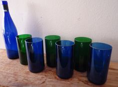 Green & Blue Glass Tumblers made from recycled Riesling wine bottles by ConversationGlass on Etsy, $48.00