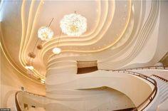 via Jiangsu China ( China Architecture, Nanjing, Theater, Ceiling Lights, Theatres, Outdoor Ceiling Lights, Teatro, Ceiling Fixtures, Drama Theater