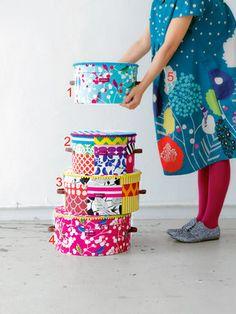 burda style - Die Stoffe von Echino machen sich hervorragend als farbenfroher Bezug von Hutschachteln oder als süße Kleider